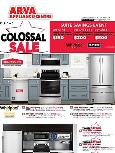 Colossal Sale | Arva Appliance Centre