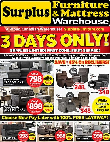 3 Days Only! | Surplus Furniture and Mattress Warehouse