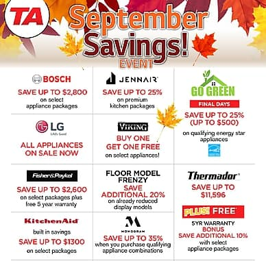 September Savings! | TA Appliances & Barbecues