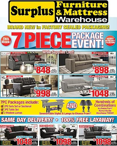 7 Piece Package Event | Surplus Furniture and Mattress Warehouse