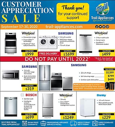 Customer Appreciation Sale | Trail Appliances