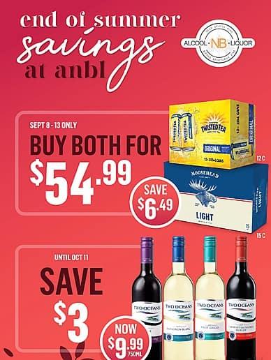 End of Summer Savings   Alcool NB Liquor